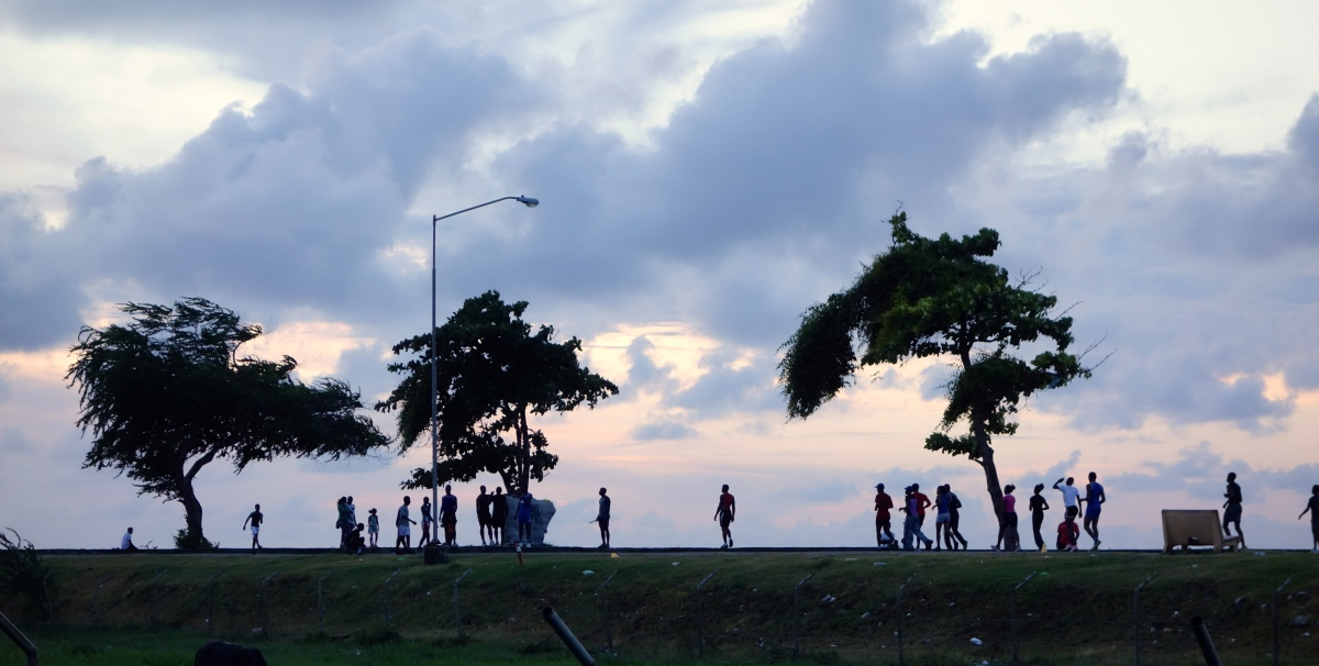 Sea wall at Sunset, Georgetown, Guyana -- Karina Noriega
