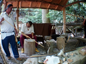 Traditional arrow making @ Oconaluftee Indian Village, Cherokee, North Carolina, USA