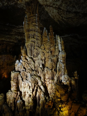 Stalactites and stalagmites join to create a massive column, Blanchard Springs Cavern, Arkansas - Karina Noriega