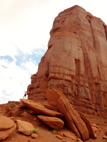 Want scale? Find me amongst the fallen boulder of a small Butte - Monument Valley, Arizona/Utah, USA - Karina Noriega