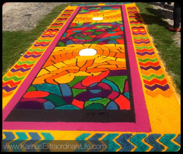 Brightly coloured sawdust is arranged into beautiful patterns to create iconic alfombras during Semana Santa. Antigua, Guatemala -- Karina Noriega