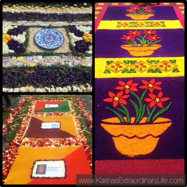 Alfombras range widely in design and materials. Each carpet is unique and changes for every procession. Antigua, Guatemala -- Karina Noriega