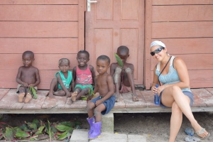 Before they got comfortable with me the little boy in green would scream in terror if the foreigners got to close - Santigron, Suriname -- Karina Noriega
