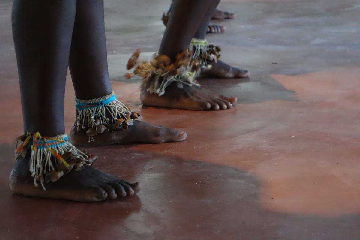 Beautiful handmade anklet instruments added vigour and joy to their dance - Santigron, Suriname -- Karina Noriega