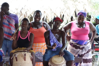 Villagers came together to sing, drum and dance at our goodbye ceremony - Santigron, Suriname -- Karina Noriega