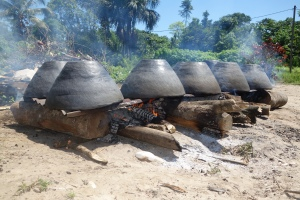 Clay pots cook over a fire. Made by the Amerindians of the Amazon, Suriname -- Karina Noriega