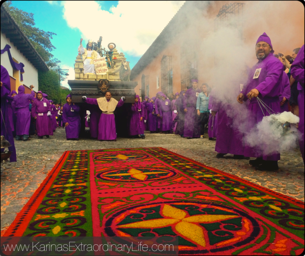 The main 'anda' carries Jesus Cristo de Nazarene through the street of Antigua, Guatemala. -- Karina Noriega