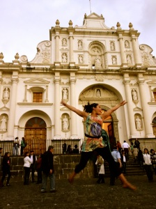 Jump for joy @ Parque Central, Antigua, Guatemala -- Karina Noriega