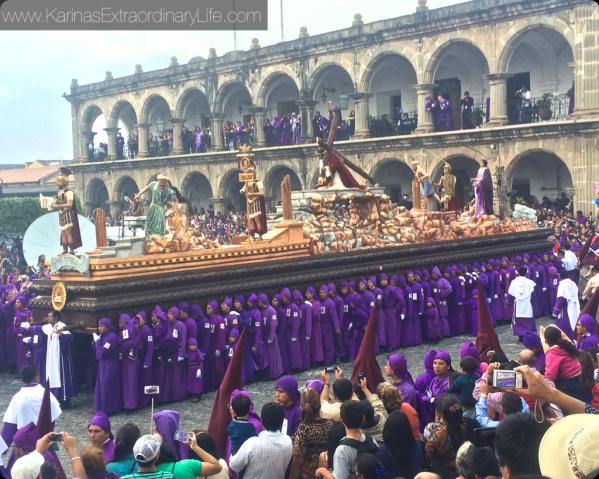 San Bartolo Becera Procession turning into Parque Central. Thousands participate in the procession, thousands more in attendance. Antigua, Guatemala -- Karina Noriega