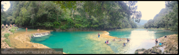 Bliss, high pools panoramic @ Semuc Champey, Guatemala -- Karina Noriega