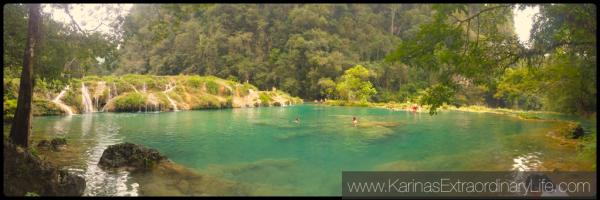 Lower pools, panoramic @ Semuc Champey, Guatemala -- Karina Noriega