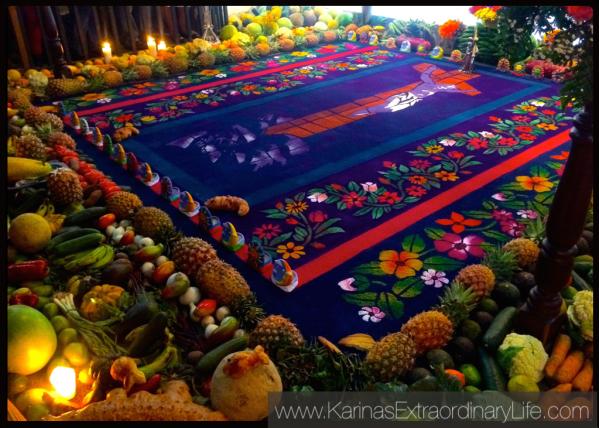 Sawdust carpets are iconic Guatemalan tradition. Velación de la Venerada Imagen de Jesús Nazareno, Aldea Santa Inés del Montepulciano. Guatemala -- Karina Noriega