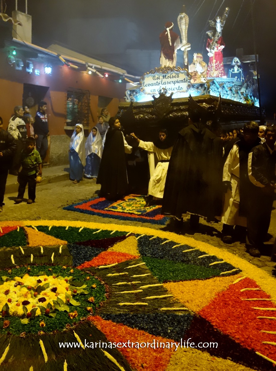 Santa Ines procession arrives. The procession will destroy the carpet as they move the anda over the streets of Antigua, Guatemala -- Karina Noriega