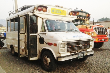 Chicken buses come in all shapes, sizes and colours, Antigua, Guatemala -- Karina Noriega