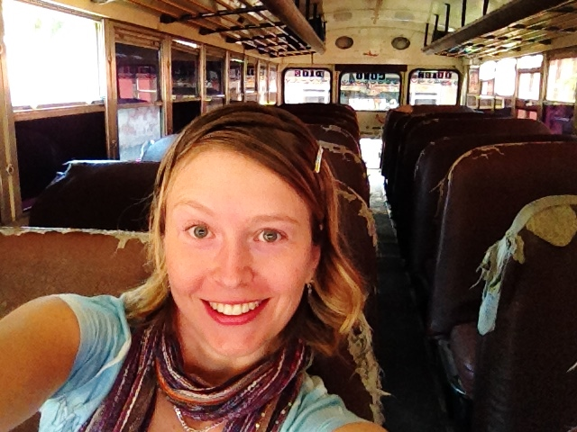 April's chicken bus selfie :) She rode the bus to Spanish school everyday, almost always as the sole 'Gringa' (foreigner)! Antigua, Guatemala -- April Beresford