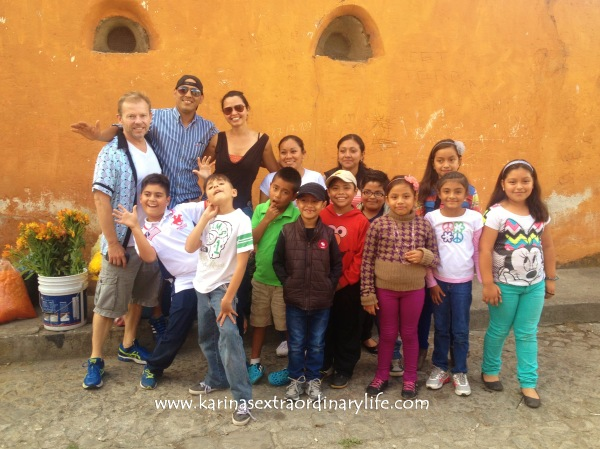 Sponsor George Sansoucy with Teacher Alejandro and his students. Antigua, Guatemala -- April Beresford