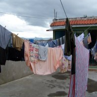 Rooftop Laundry- The family I stayed with dried their laundry on a line located directly outside of my bedroom door. The fresh smell of detergent wafted into my bedroom every morning. Xela, Guatemala -- April Beresford