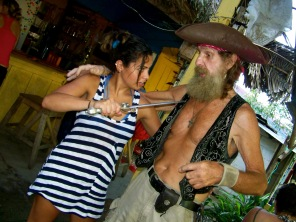 Watch out for real live pirates, boat and all, hanging around Rio Dulce, Guatemala -- Karina Noriega