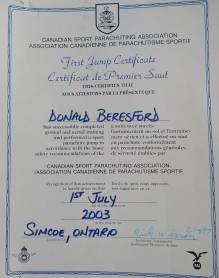 Skydiving Certificate for Rick Beresford. Simcoe, Ontario -- April Beresford