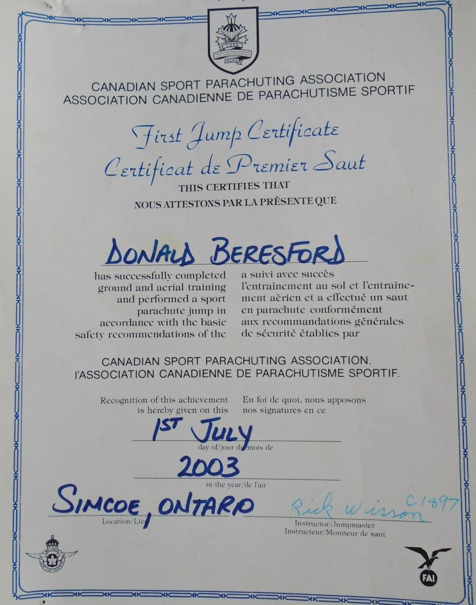 Skydiving Certificate for Rick Beresford. Simcoe, Ontario -- April Beresford