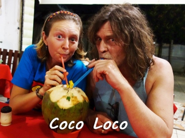April and her Dad enjoying fresh a fresh CocoLoco (coco water with rum) in Livingston, Guatemala --Karina Noriega