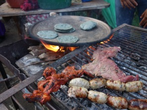 Blue torillas and random meats. My idea of a fantastic cheap and tasty meal. Antigua, Guatemala --Karina Noriega