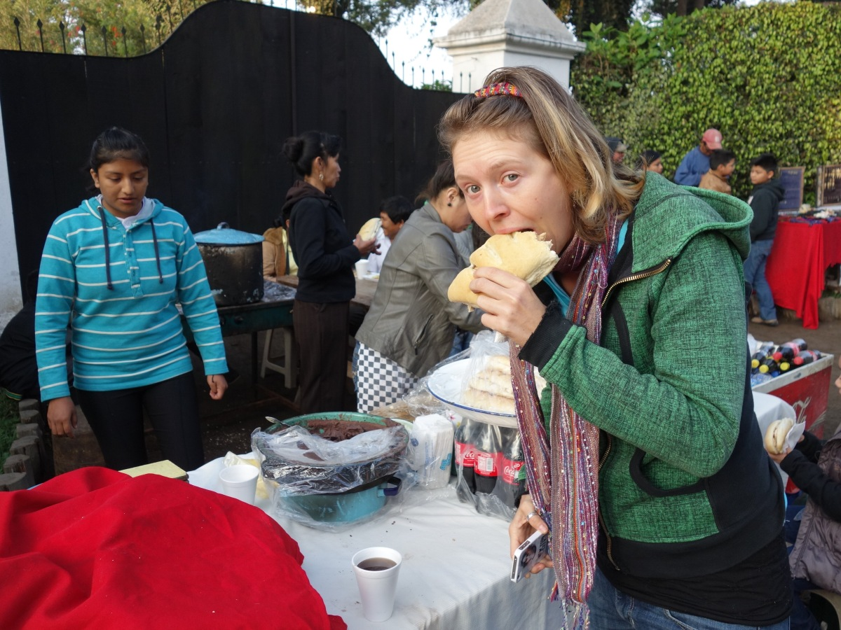 Devouring some street food during Semana Santa. Antigua, Guatemala --Karina Noriega
