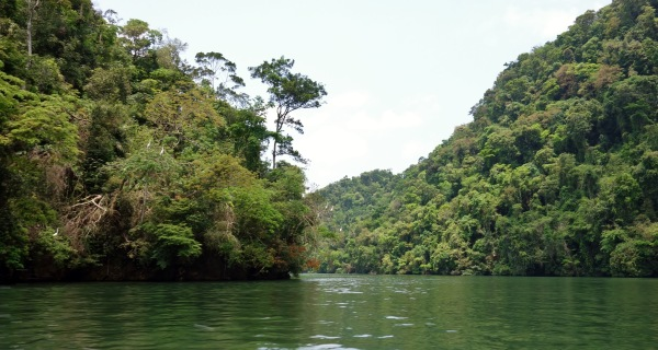 Entering the enormous jungle gorge of Rio Dulce, Guatemala -- Karina Noriega