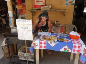 April and I made multiple visits to Vilma's empanada emporium :) Livingston, Guatemala -- Karina Noriega