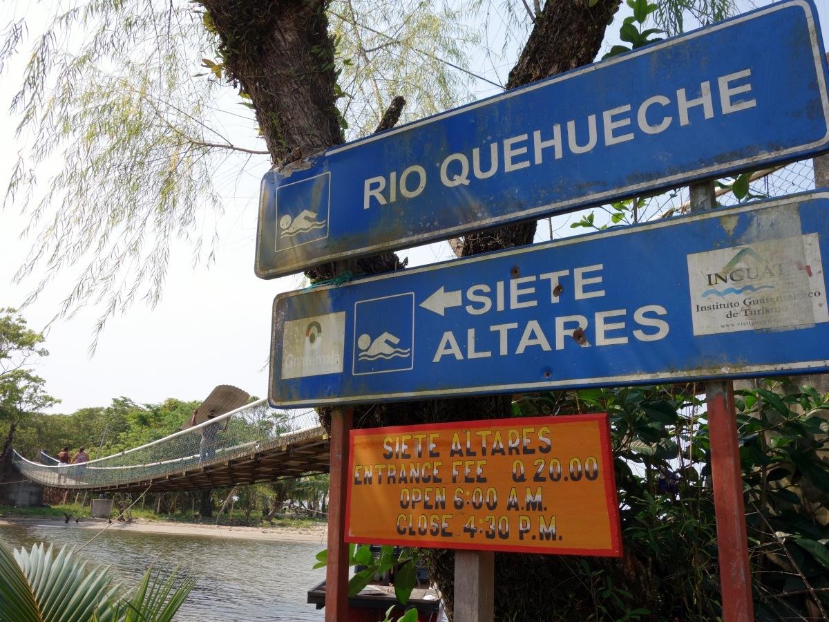 When the road ends, walk over the bridge and walk the coastline until you reach Siete Altares. Pacific Coast, Guatemala -- Karina Noriega