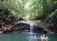 April and RIck cooling off from the Jungle heat in Siete Altares. Livingston, Guatemala -- Karina Noriega