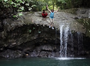 We may have jumped out of a plane together but I didn't have the guts to jump off the waterfall. You are one up on me now, Dad! Livingston, Guatemala -- April Beresford