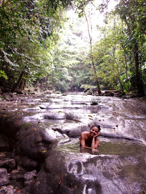 Chilling in a tiny pool of the most refreshing water while hiking up to the waterfalls of Siete Altares, Guatemala -- Karina Noriega