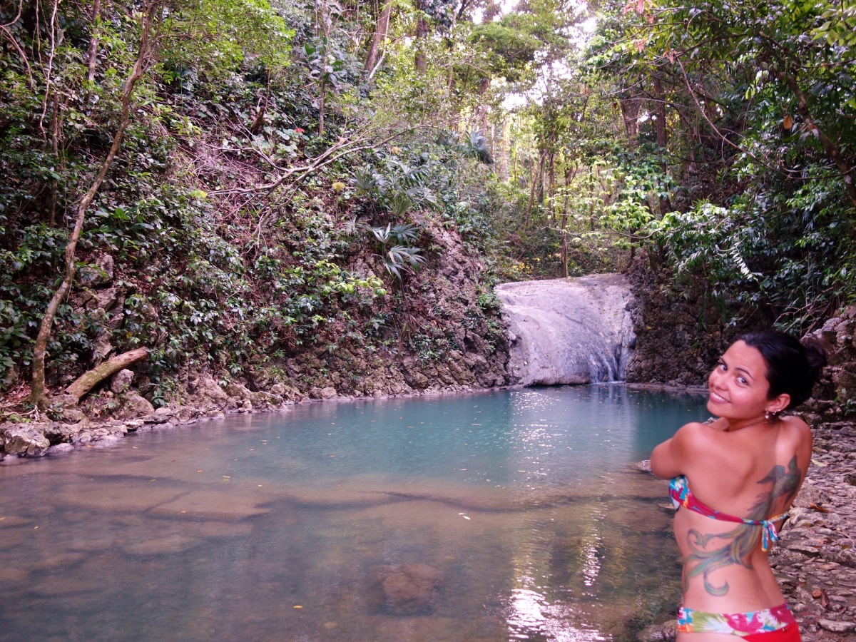At one of the lower pools. Follow the river through the jungle up to the waterfalls of Siete Altares, Guatemala -- Karina Noriega