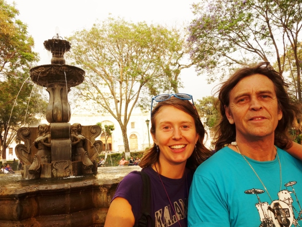 Dad and I in the parque central. Antigua, Guatemala -- Karina Noriega