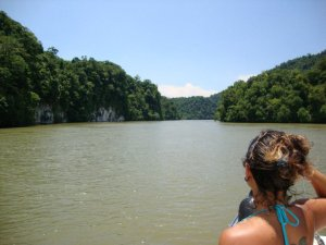 Entering the Rio Dulce jungle canyon. Rio Dulce, Guatemala